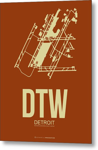 Dtw Detroit Airport Poster 2 Metal Print