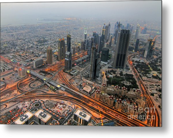 Duabi From Above Metal Print by Lars Ruecker