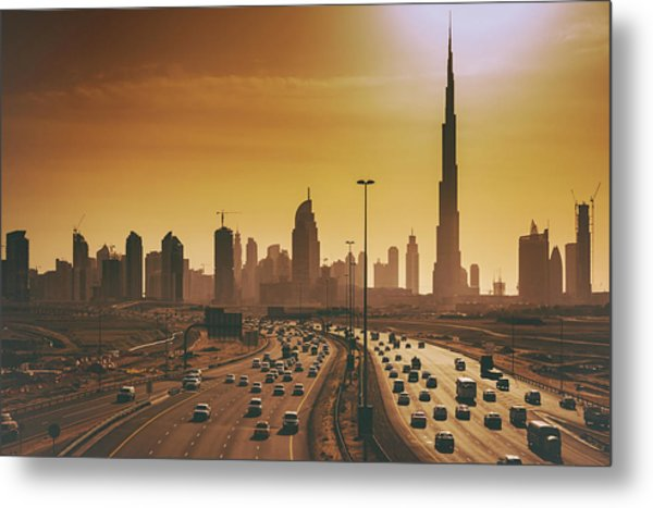 Dubai Cityscape With Skyscrapers And Metal Print by Serts