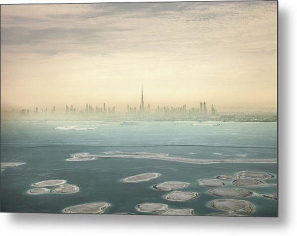 Dubai Downtown Skyscrapers And Office Metal Print by Leopatrizi