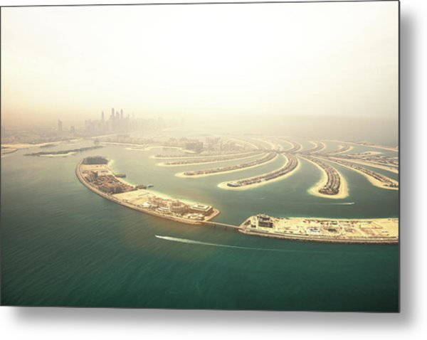 Dubai Marina Skyscrapers And The Palm Metal Print by Leopatrizi