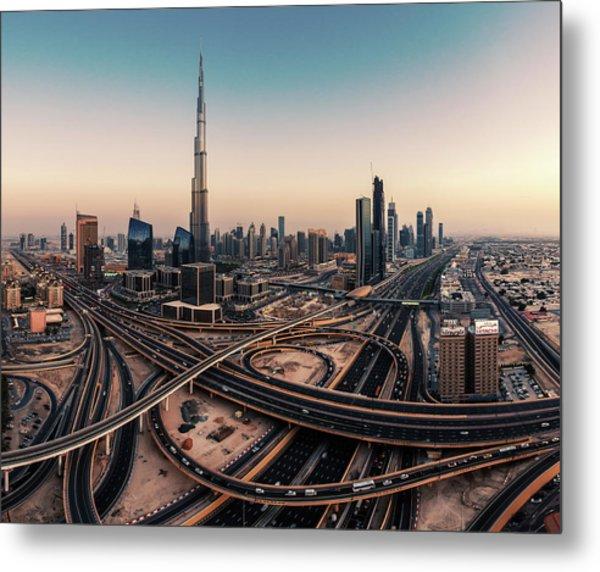 Dubai Skyline Panorama Metal Print