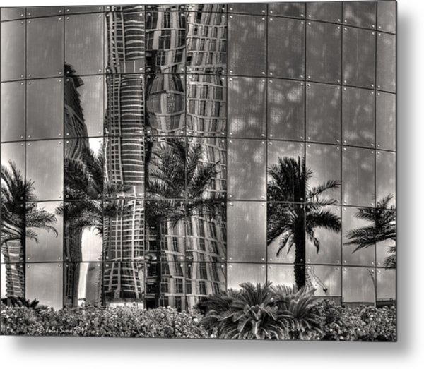 Dubai Street Reflections Metal Print