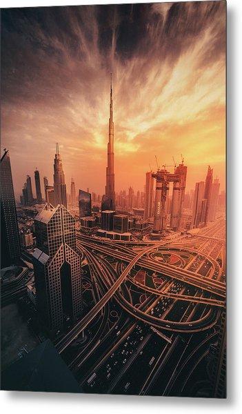 Dubai's Fiery Sunset Metal Print