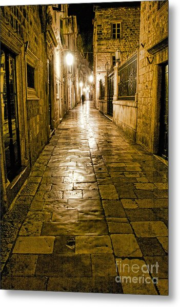 Dubrovnik Streets At Night Metal Print