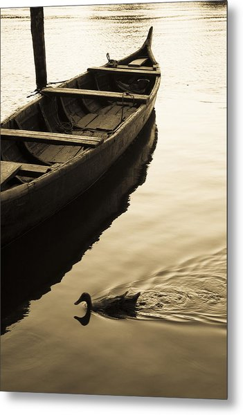 Duck And Boat Metal Print