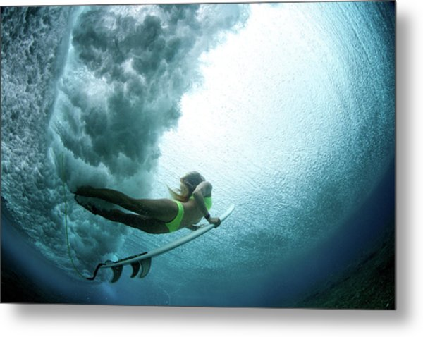Duck Dive From Beneath The Water Metal Print by Richinpit
