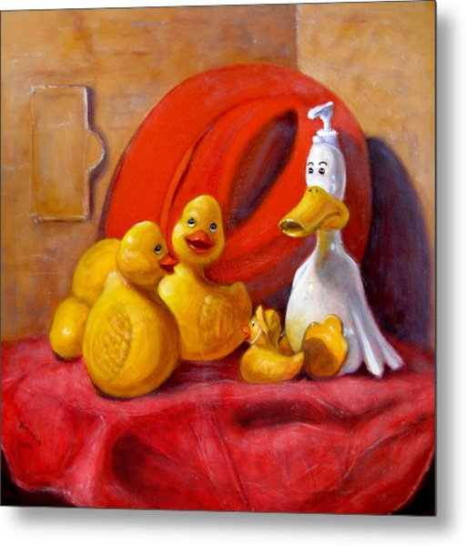 Duck Soap With Red Hat Metal Print