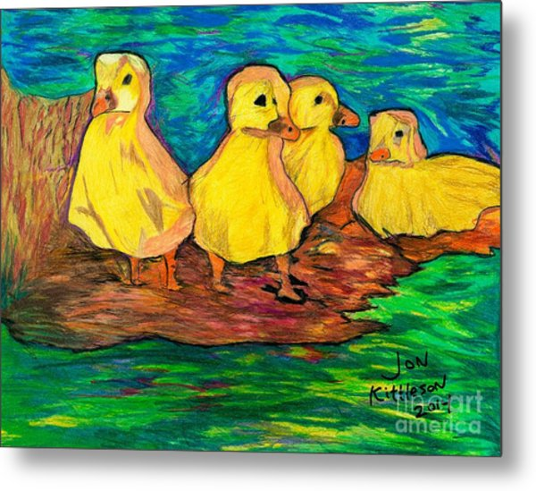 Ducklings Out By The Water Metal Print