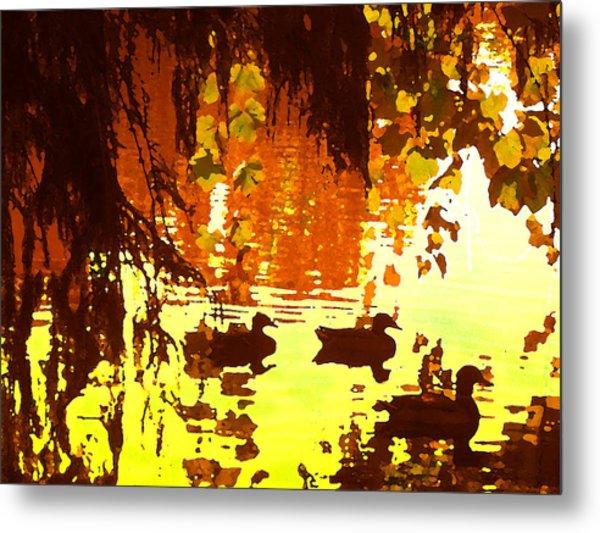 Ducks On Red Lake Metal Print