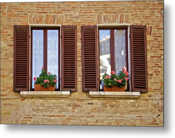 Dueling Windows Of Tuscany Metal Print