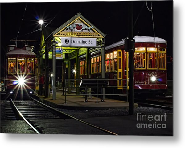 Dumaine St. Trolly In New Orleans Metal Print by Kent Taylor