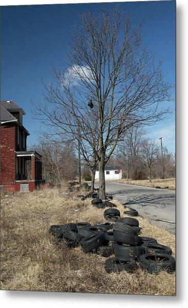 Dumped Vehicle Tyres Metal Print