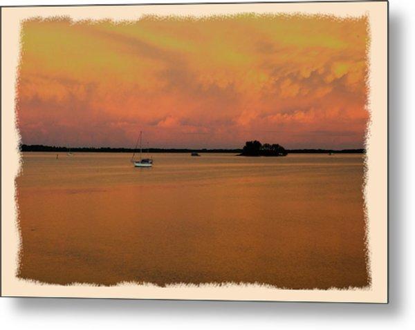 Dunedin Sunset Boat Metal Print by Wynn Davis-Shanks