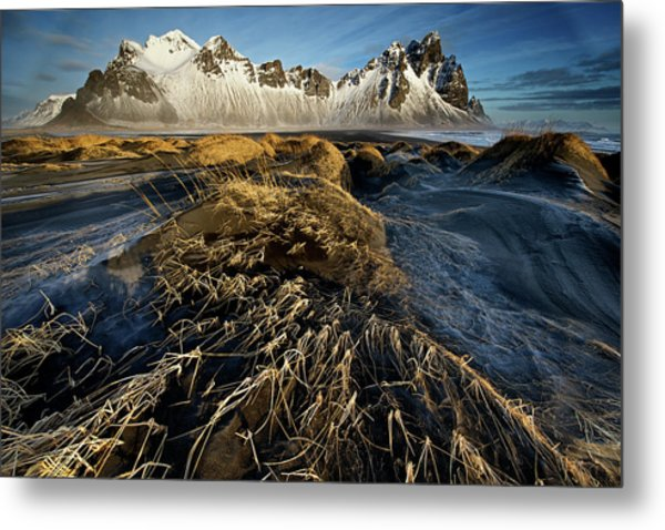 Dunes And Sea Interact Metal Print by Trevor Cole