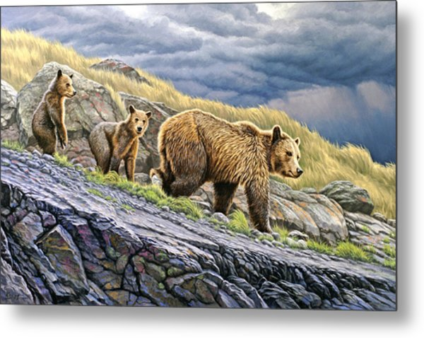 Dunraven Pass Grizzly Family Metal Print