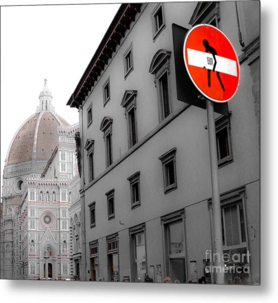 Duomo And Street Humor Metal Print