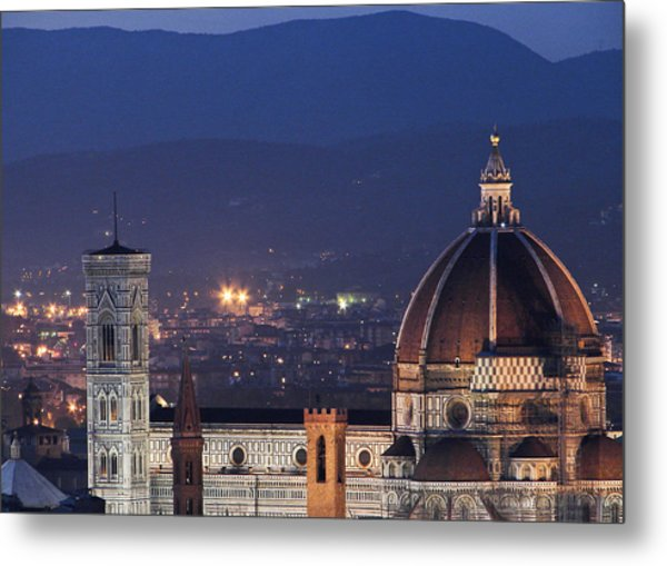 Duomo At Night Florence Italy Metal Print