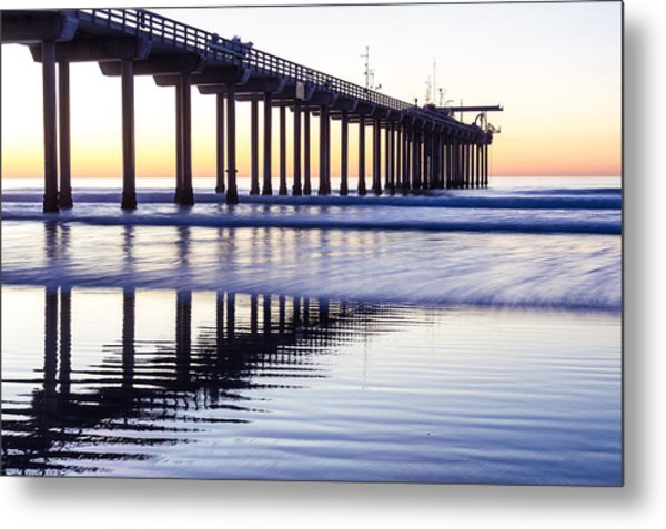 Metal Print featuring the photograph Dusk At Scripps Pier by Priya Ghose