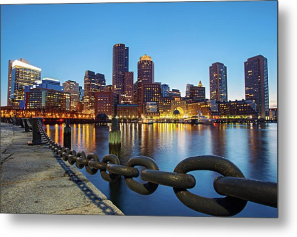 Dusk In Boston Metal Print by Photography By Nick Burwell