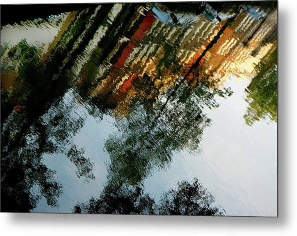 Dutch Canal Reflection Metal Print
