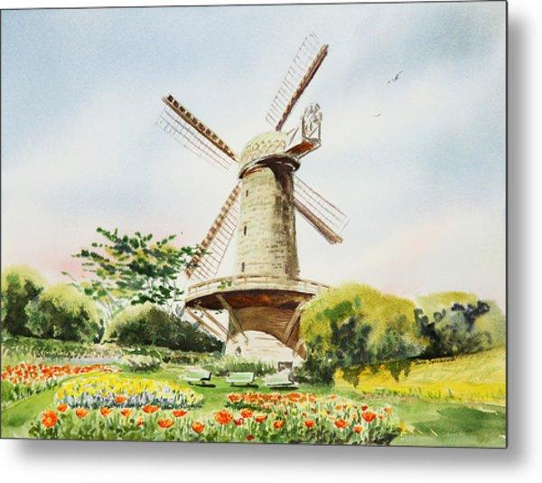 Dutch Windmill In San Francisco  Metal Print