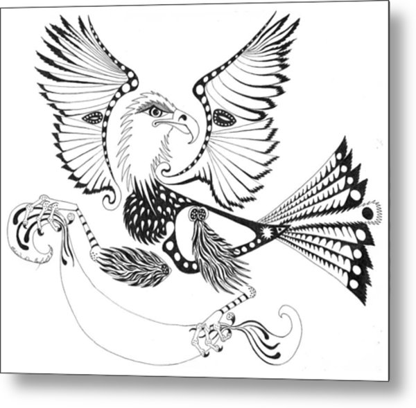 Eagle With A Banner Metal Print