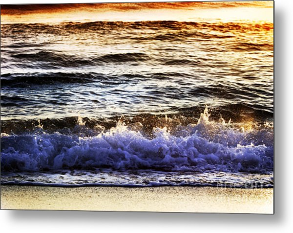 Early Morning Frothy Waves Metal Print