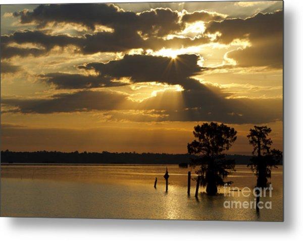 Early Morning Light At Lake Deutrive Metal Print by Kelly Morvant