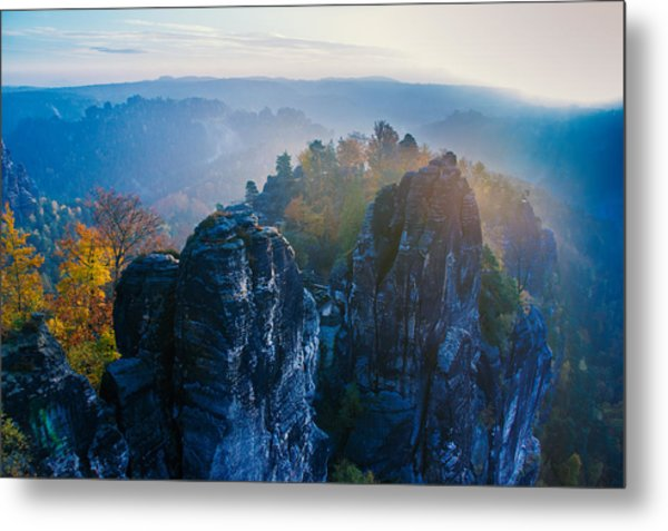 Early Morning Mist At The Bastei In The Saxon Switzerland Metal Print