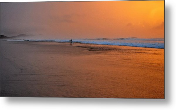Dawn Sea Man Harmony Metal Print