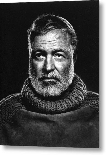 Earnest Hemingway Close Up Metal Print
