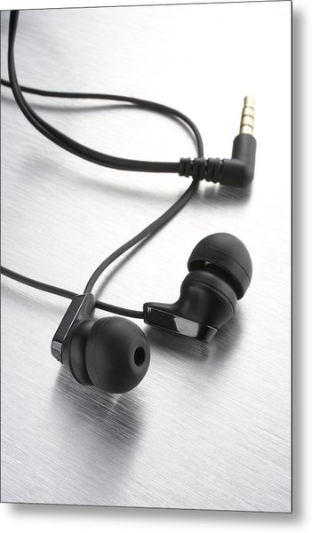 Earphones Using Neodymium Magnets Metal Print by Science Photo Library