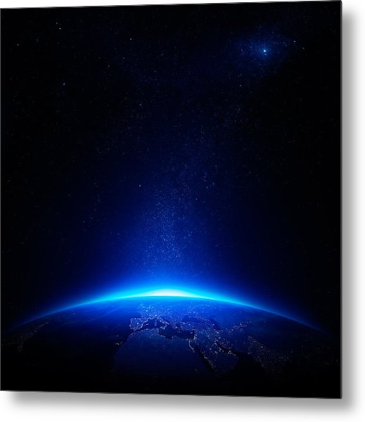 Earth At Night With City Lights Metal Print