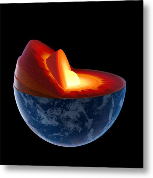 Earth Core Structure - Isolated Metal Print