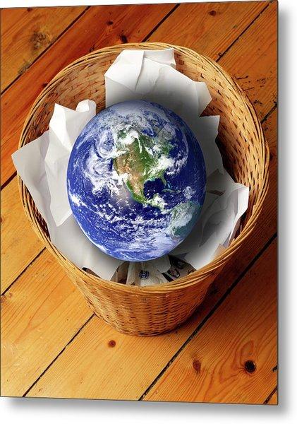 Earth In Bin Metal Print