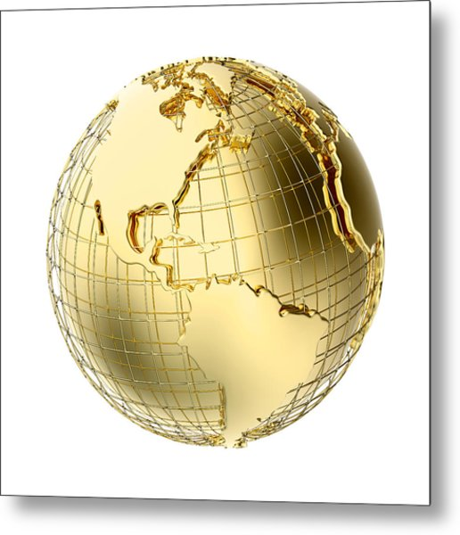 Earth In Gold Metal Isolated On White Metal Print