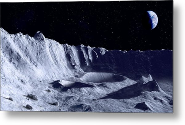 Earth Over Moon Metal Print by Mark Garlick/science Photo Library