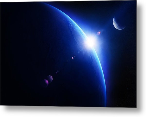 Earth Sunrise With Moon In Space Metal Print