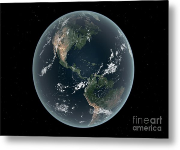 Earths Western Hemisphere With Rise Metal Print