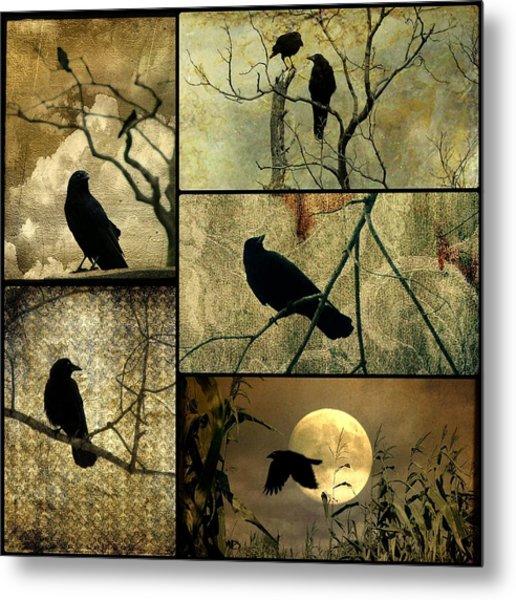 Earthy Crows Metal Print