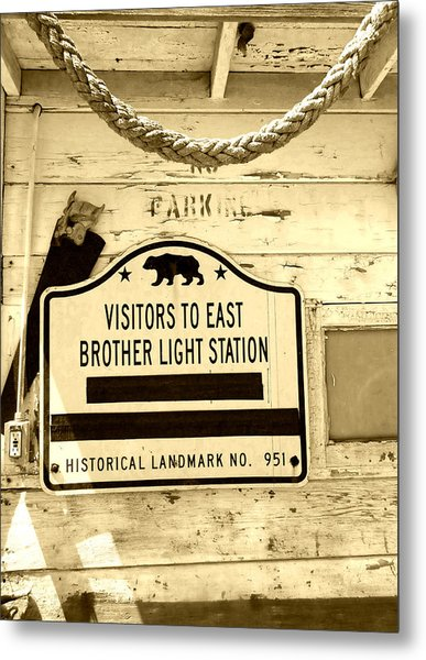East Brother Light Station Visitor Sign Metal Print