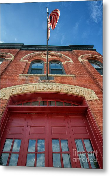 Metal Print featuring the photograph East End Fire Station Looking Up by Kari Yearous