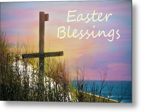 Easter Blessings Cross Metal Print