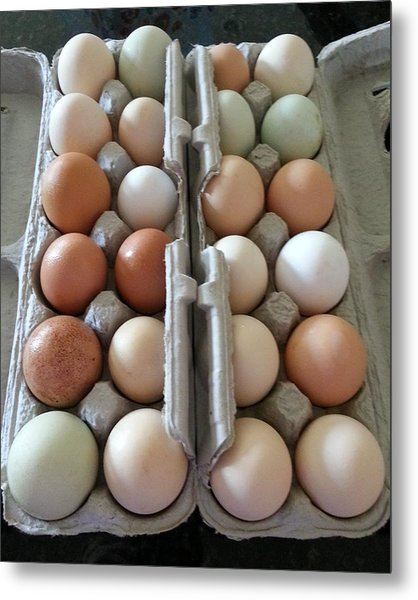 Easter Eggs Au Naturel Metal Print