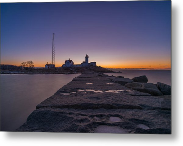 Eastern Point Lighthouse Just Before Sunrise Gloucester Ma Metal Print