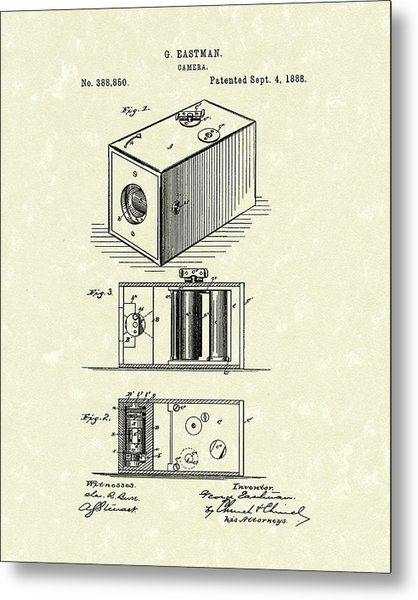 Eastman Camera 1889 Patent Art Metal Print