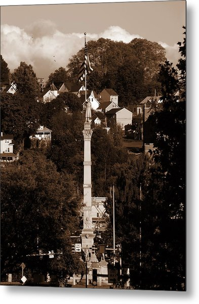 Easton Pa - Long View Of Civil War Monument In Sepia Metal Print by Jacqueline M Lewis