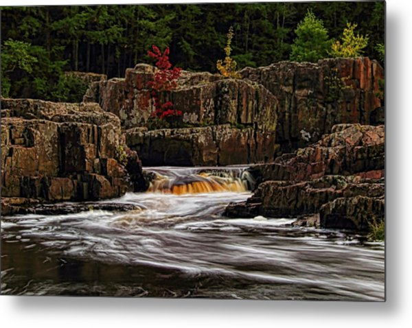 Waterfall Under Colored Leaves Metal Print