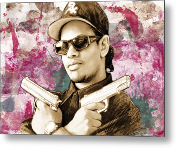 Eazy-e - Stylised Drawing Art Poster Metal Print